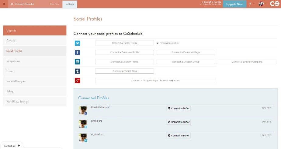CoSchedule Social Profiles