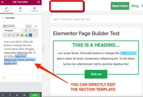 Elementor Text Box