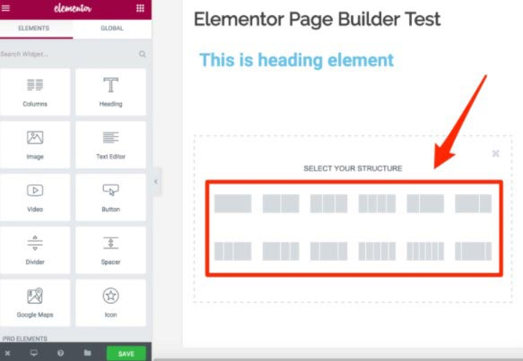 Elementor Page Structure