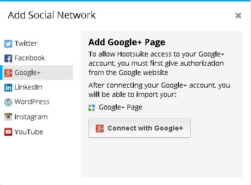 Hootsuite Add Social Network