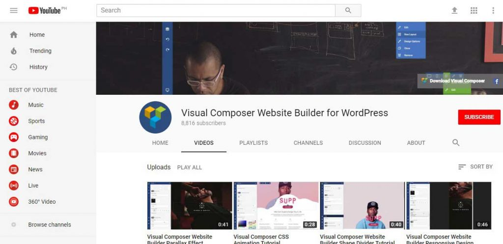 Visual Composer You tube